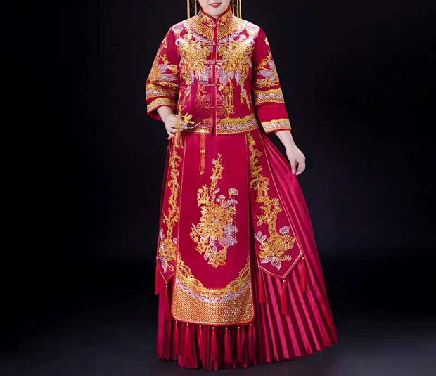 Plus Size Evening Dress CUSTOM MADE Burgundy Chinese Dress with Yellow and  White Embroidery Design