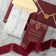 40 PCS Maroon/Red Gold Foil Wedding Invitation Set