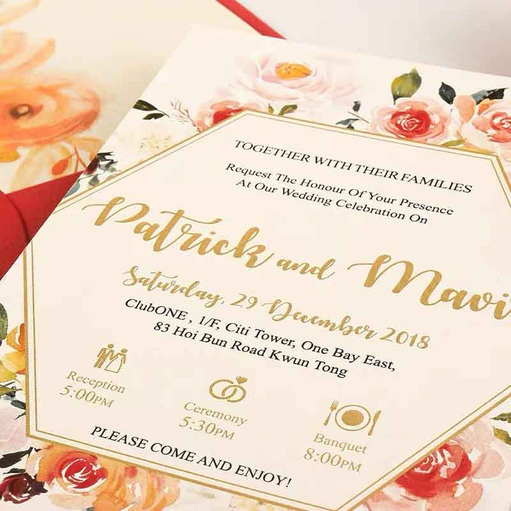40 PCS Gold Foil Wedding Floral Invitation & Floral Red Envelope