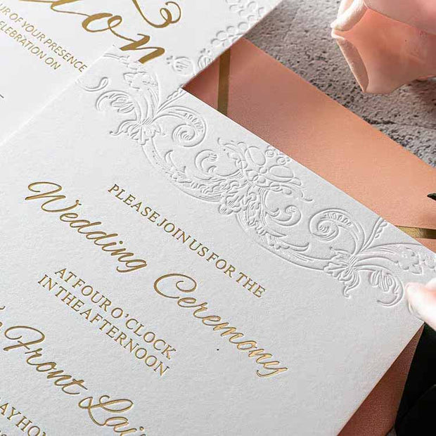40 PCS Gold Foil Wedding Invitation with Floral Stamp Design & Baby Pink Envelope