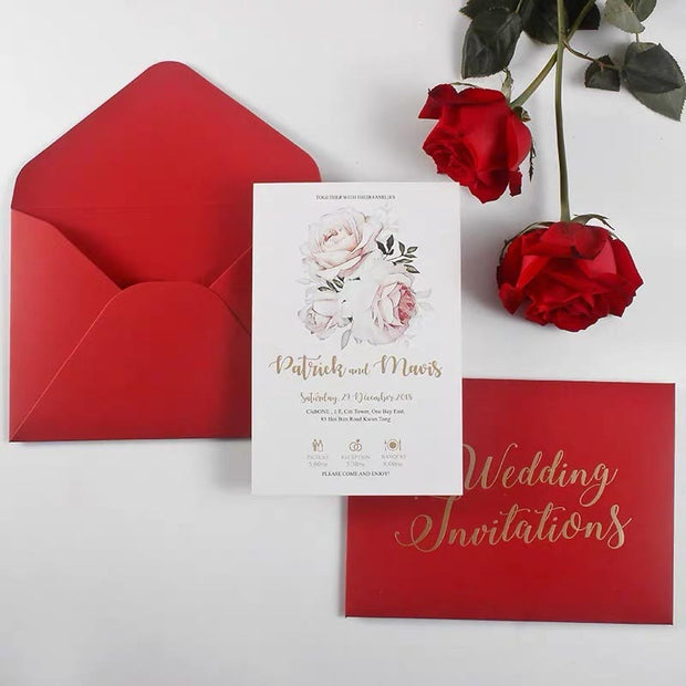 40 PCS Burgundy & Gold Foil Wedding Invitation & Envelope