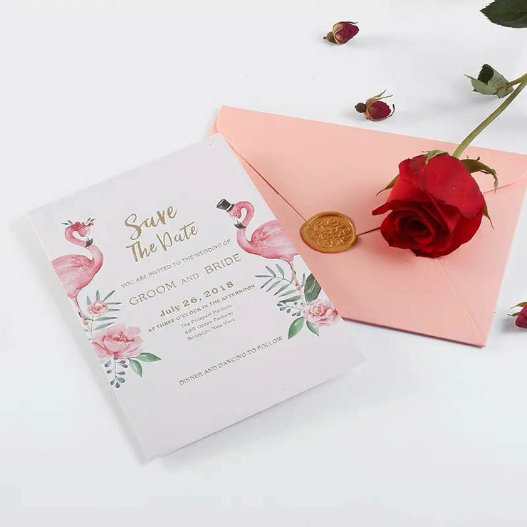 40 PCS Gold Foil Wedding Invitation designed with Pink Florals & Pink Envelope