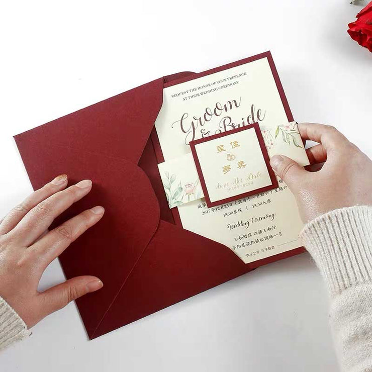 40 PCS Maroon & Gold Foil Wedding Invitation & Gold Printed Envelope