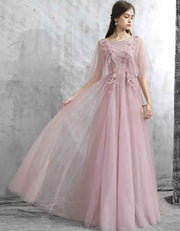Long Tulle Blush Pink Evening Gown with Flower Embroidery Embellished