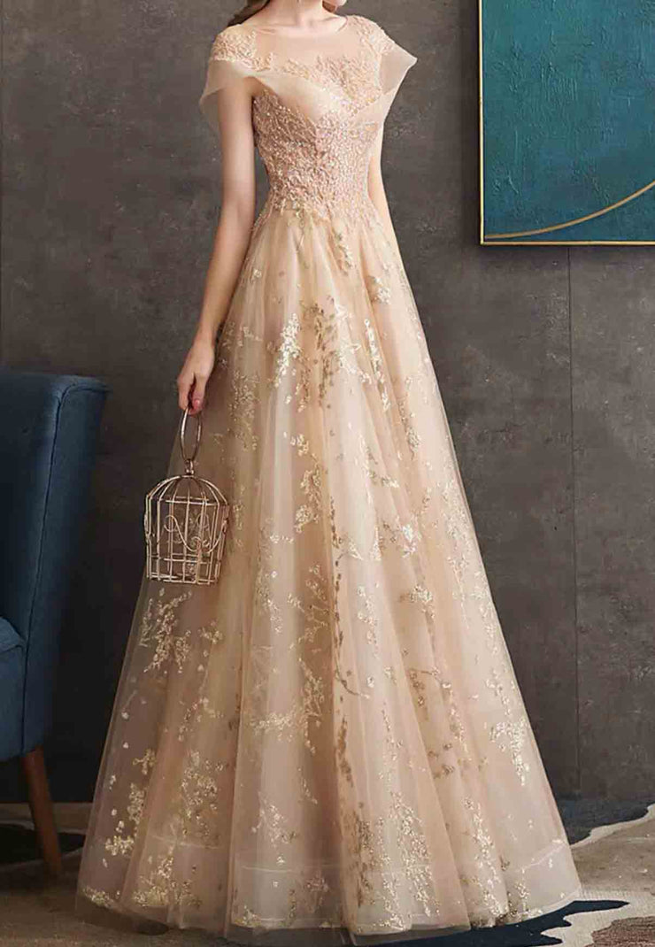 Unique Design Gold Printed Organza Evening Gown with Lace Applique