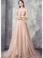 Nude Pink Lace Elegant Cold Shoulder Evening Gown