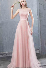 Simple Embroidered Pink Evening Gown Sleeveless with Illusion Neckline