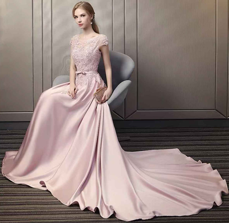 Silk Blush Pink  Lace Bodice Court Train Evening Gown with Bow Belt