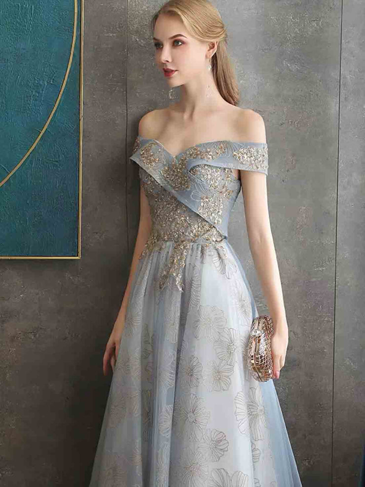 Blue Evening Gown with Cross Off Shoulder and Gold Floral Pattern