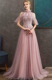 A-Line Pink Tulle Evening Gown with Ruffled Turtleneck Off Shoulder Sleeve