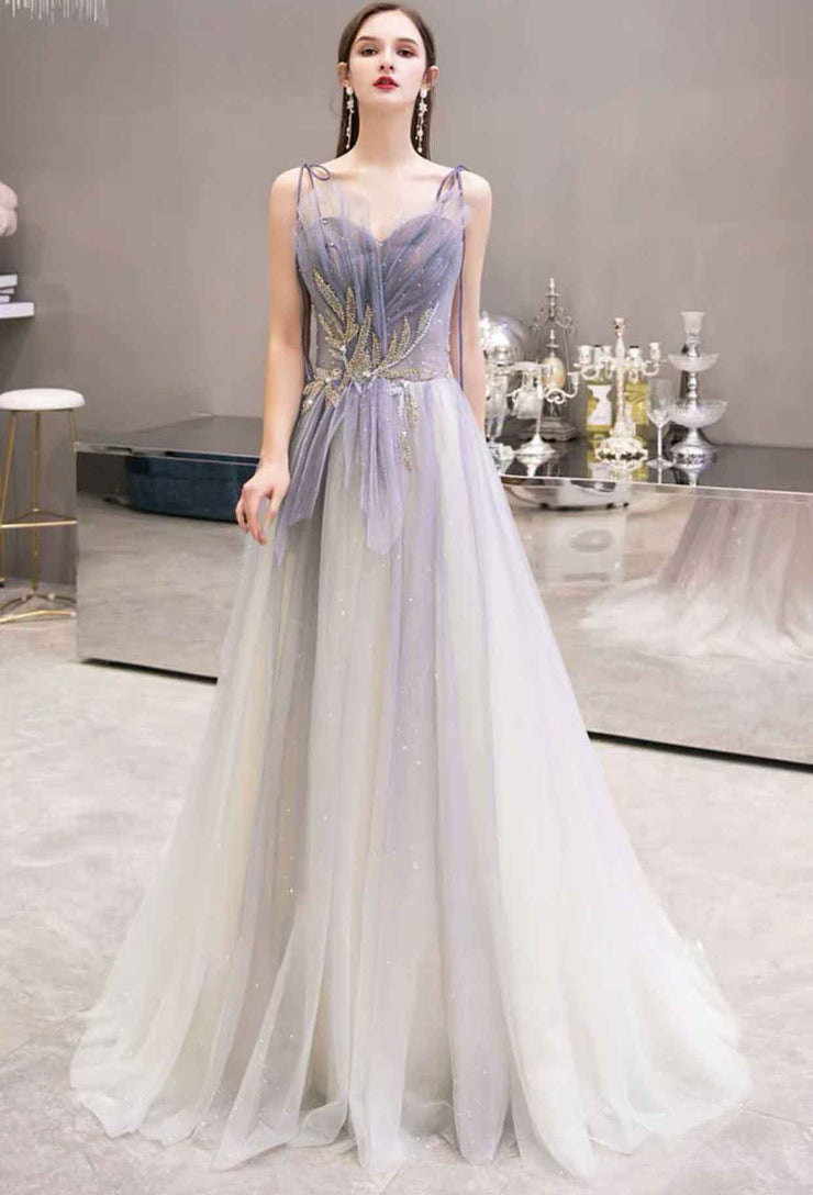 Sparkly Purple Ombre Spaghetti Strap Evening Gown