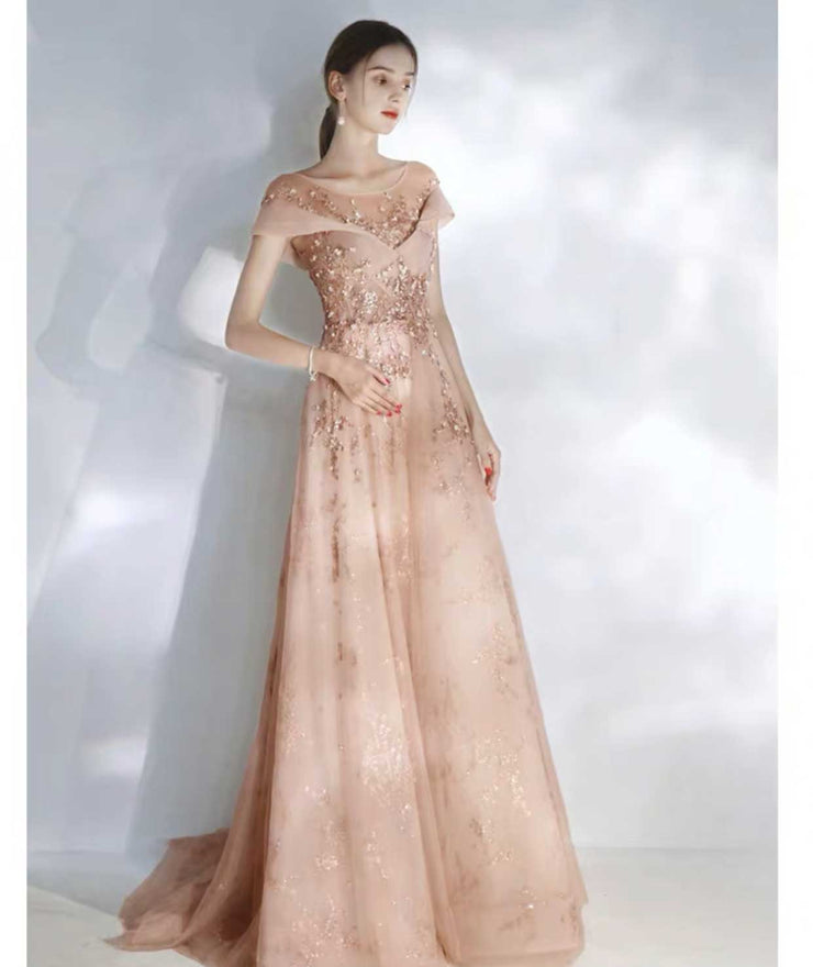 Elegant Champagne Illusion Off Shoulder Evening Gown with Gold Floral Sequins