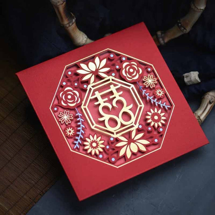 40 PCS Unique Chinese Wedding Invitation Set Laser Cut Rosette Design Square