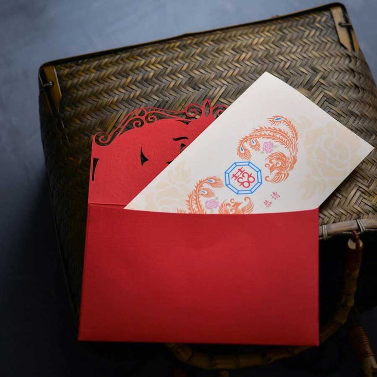 40 PCS Unique Lasser Cut Chinese Wedding Invitation Set with Blue Envelop Linings