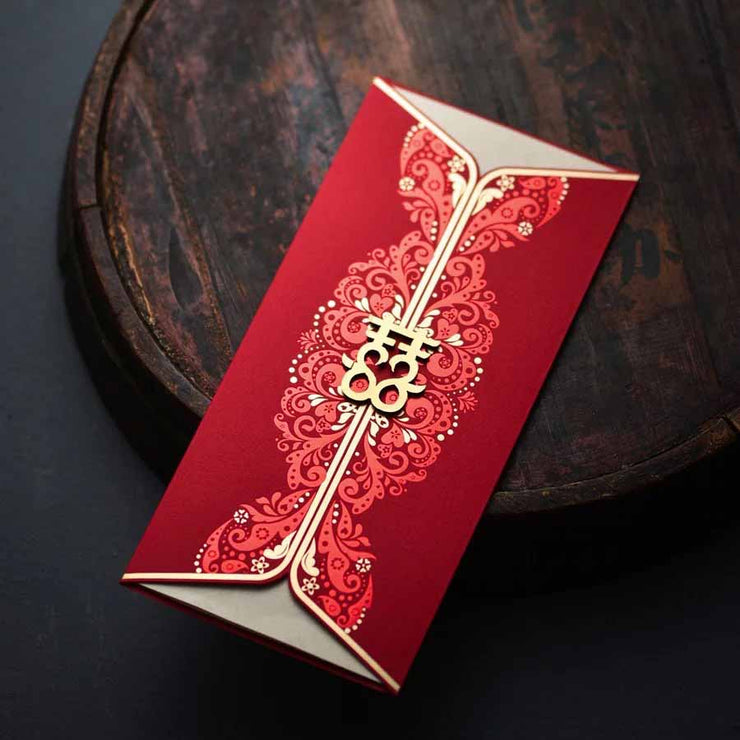 40 PCS Unique Chinese Wedding Invitation Set with Double Happiness Lock Two Openings
