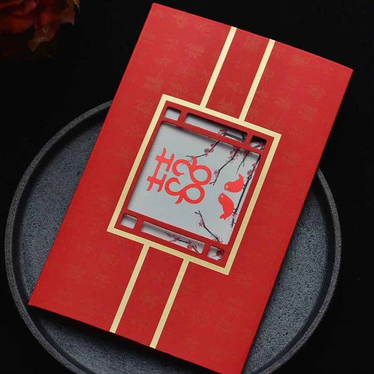 40 PCS Unqiue Chinese Wedding Invitation Set with Laser Cut Outer Card and Gold Linings