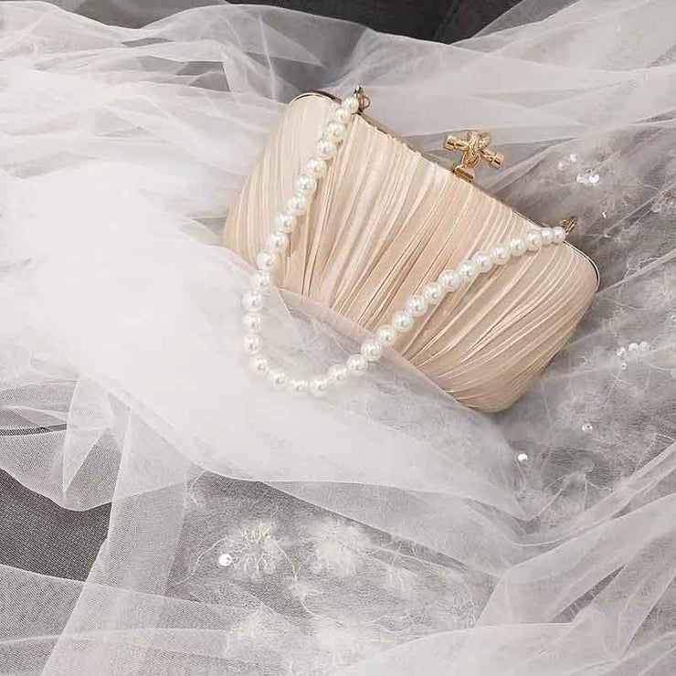 Pleated Elegant Bridal Clutch Wedding Handbag with Detachable Pearl Handle
