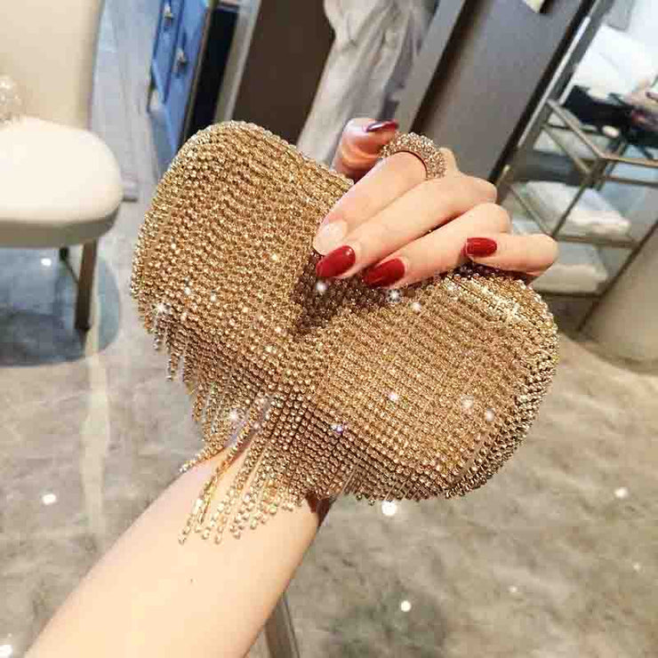 Tassel Rhinestone Finger Ring Bridal Clutch Wedding Handbag