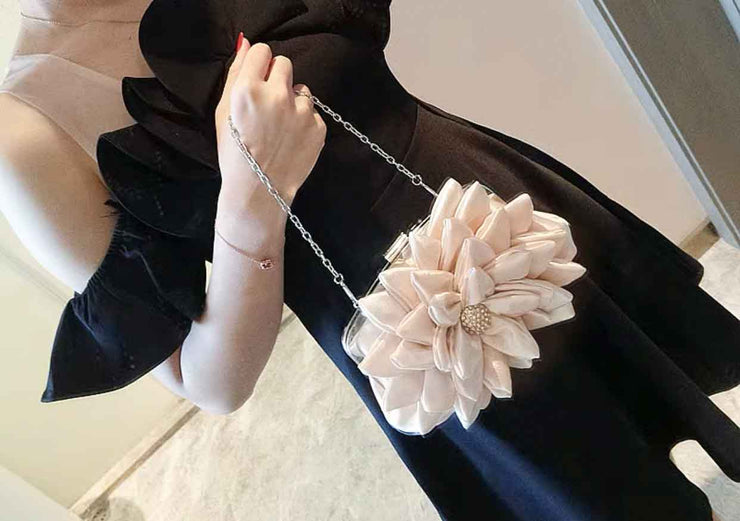 Bridal Clutch Wedding Handbag with Beautiful Flower Design in Front