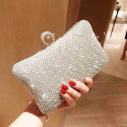 Hard Case Diamond Bridal Clutch Wedding Handbag with Finger Ring