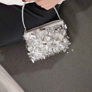 Silver Sequins Bridal Clutch Wedding Handbag with Detachable Sling Handle