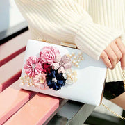 Floral Design Bridal Clutch Wedding Handbag Hard Case