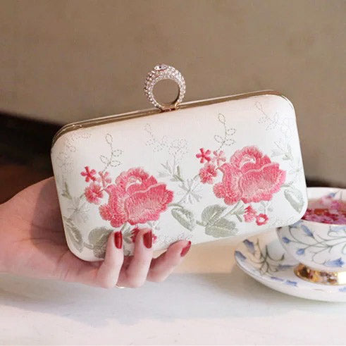 Bridal Clutch Wedding 2-way Bag Handbag/Sling Bag with Flower Embroidery and Ring Handle