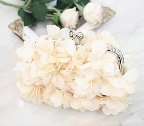 Bridal Clutch Wedding Handbag Flower Design