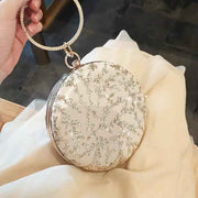 Round Floral Bridal Clutch Wedding Handbag with Metal Wristlet