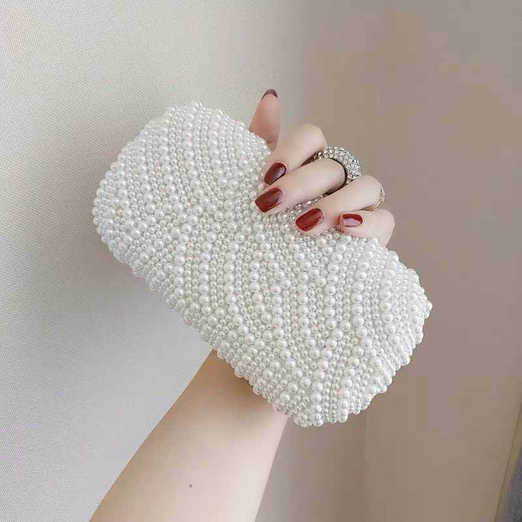 Knuckle Ring Full Pearl Bridal Clutch Wedding Handbag