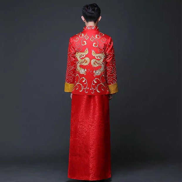 Groom's Wedding Qun Kua/Cheongsam 男士龍鳳卦 for Men in Red with Gold Dragon Embroidery