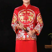 Groom's Wedding Qun Kua/Cheongsam 男士龍鳳卦 for Men in Red with Gold Dancing Dragon Embroidery at the Center with White gold border
