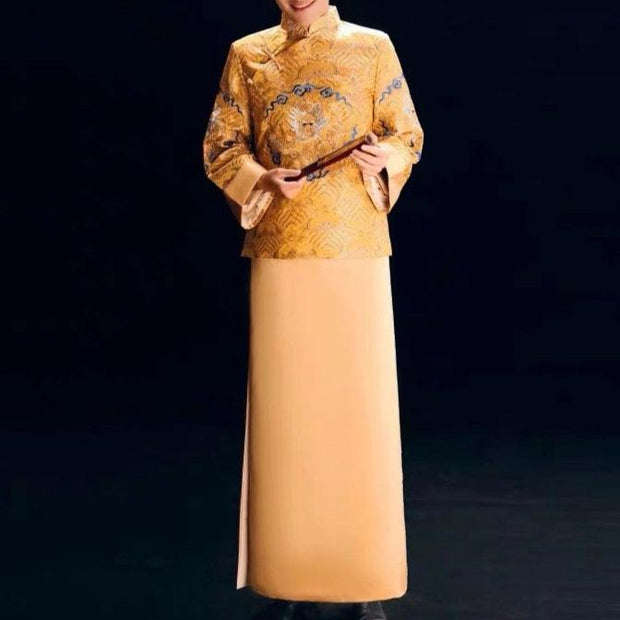 Groom's Wedding Qun Kua/Cheongsam 男士龍鳳卦 for Men in Gold with Minimalist Dragon Head Embroidery