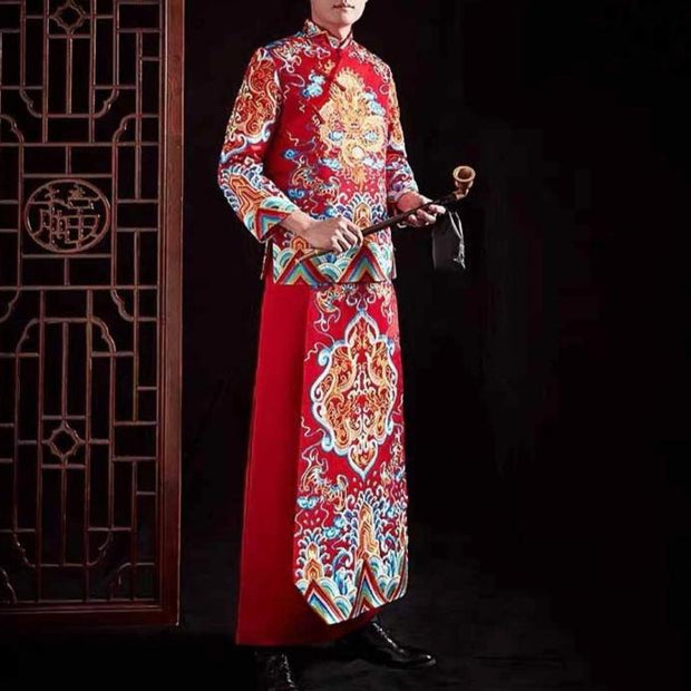 Groom's Wedding Qun Kua/Cheongsam 男士龍鳳卦 for Men in Red with Top and Bottom Elegant Colorful Embroidery