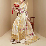Wedding Kua 龍鳳卦/秀禾服 Qun Kua Cheongsam for Bride in Gold with Floral and Peacock Embroidery with Beads