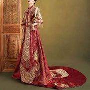 Wedding Kua 龍鳳卦/秀禾服 Qun Kua Cheongsam for Bride in Red and Gold with Floral Embroidery and Beaded Tassel