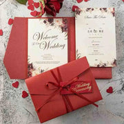 40 PCS Floral Wedding Invitations with a Red Tri-Fold Envelope Pocket and Ribbon