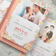 40 PCS Wedding Invitations with a Peach Tri-Fold Envelope Pocket with Ribbon and Tag