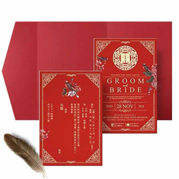 40 PCS Classic Chinese Red Wedding Invitations with a Tri-Fold Envelope Pocket