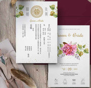 40 PCS Burgundy Floral Wedding Invitations with a Tri-Fold Envelope Pocket