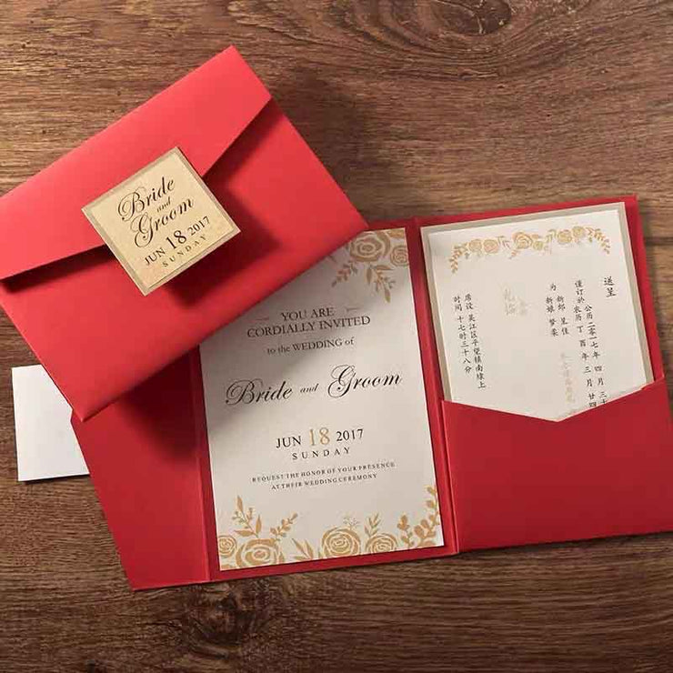 40 PCS Minimalist Floral Border Wedding Invitations with a Red Tri-Fold Envelope Pocket
