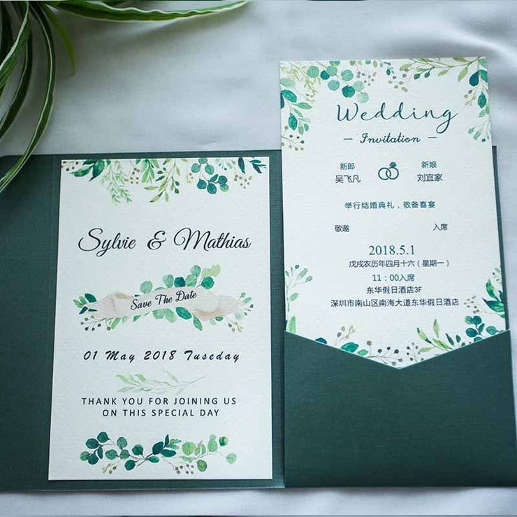40 PCS Wedding Invitations with a Tri-Fold Silk Envelope Pocket and Save the Date Sticker