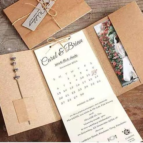 40 PCS  Rustic Wedding Invitation with Tri-Fold Kraft Paper Envelope Pocket