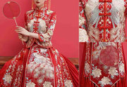 Wedding Kua 龍鳳卦/秀禾服 Qun Kua Cheongsam for Bride with Stunning Peacock Embroidery