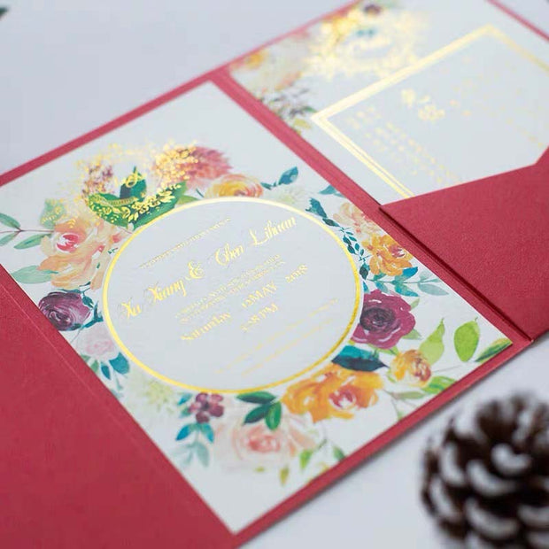 40 PCS Foil Printed Floral Design Wedding Invitations with a Tri-Fold Envelope Pocket and Stamp