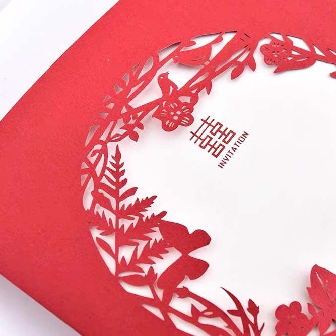 40 PCS Chinese Laser Cut Red Floral Wedding Invitation Set with Delicate Birds & Flower Pattern