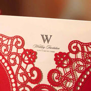 Laser Cut Red Chinese Wedding Invitation Set with Heart and Floral Pattern