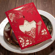 Red Laser Cut Couple and Flowers Pattern Chinese Wedding Invitation Set
