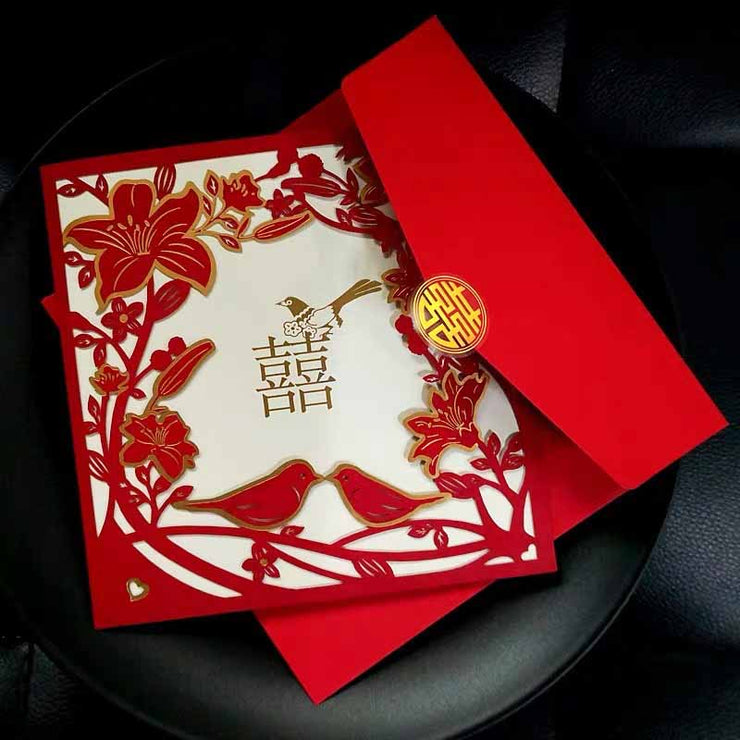 40 PCS Chinese Wedding Invitation Set with Laser Cut Flowers and Love Birds Theme