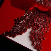 Elegant 40 PCS Chinese Wedding Invitations with Red Floral Design and Red Ribbon